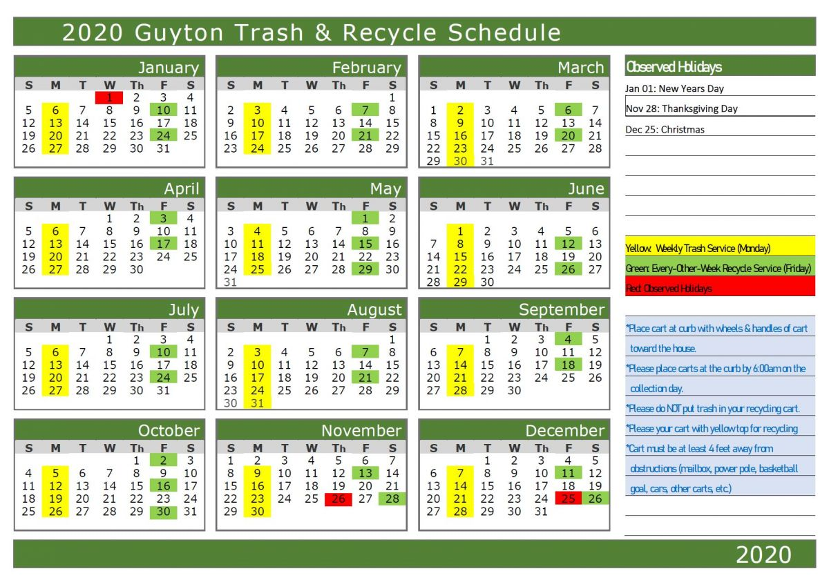 2020 Trash and Recycle Schedule